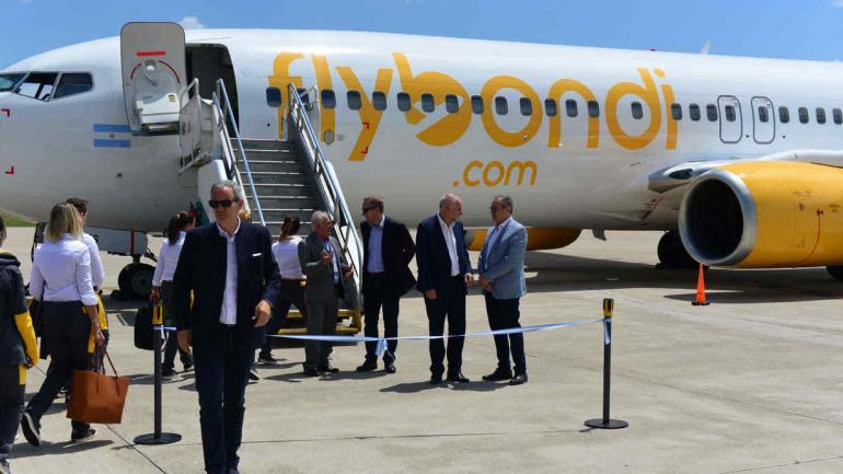 FLYBONDI. La presentación de la aerolínea en el aeropuerto de Córdoba, en diciembre (La Voz / Nicolás Bravo).