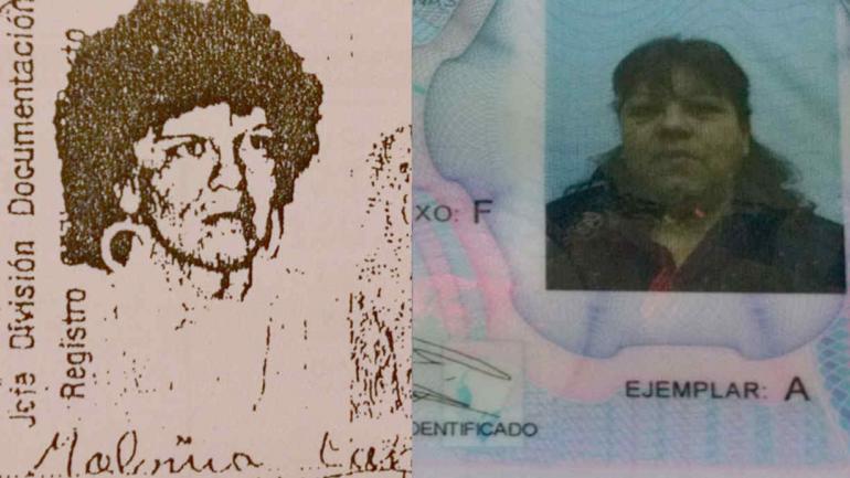 FOTOS. De las dos Isabel Malvina Carvajal. La foto en blanco y negro figura en el expediente. La otra es la imagen de la denunciante (Gentileza Estudio Nayi).