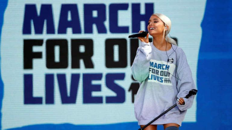 ARIANA GRANDE. La cantante en la macha en Washington (AP/Alex Brandon).