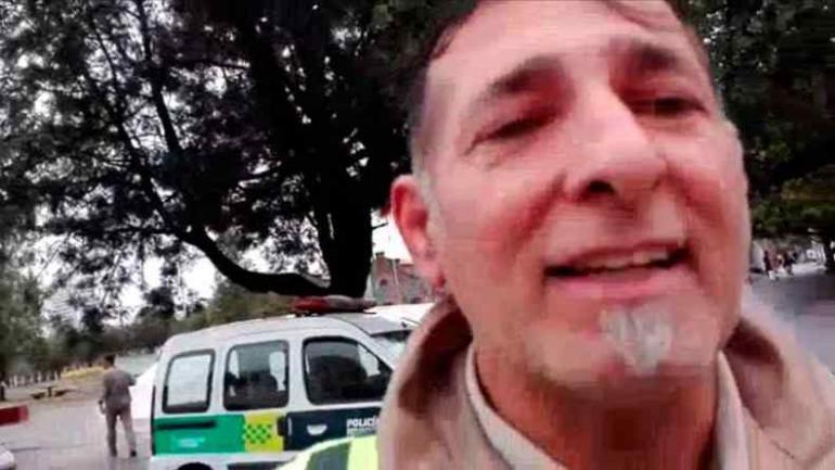 VIDEO. En la filmación se identifica claramente al inspector que realiza la amenaza y la agresión.