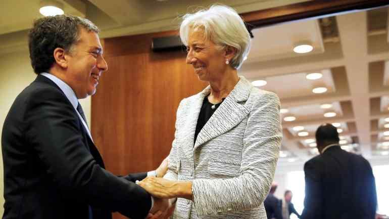 Dujovne y Lagarde en el FMI (AP).