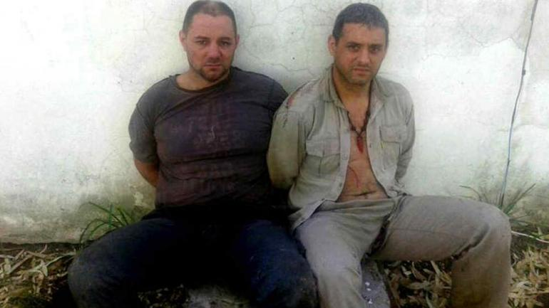 2016. Cristian Lanatta (izquierda) y Víctor Schillaci cuando fueron detenidos (La Voz/Archivo).