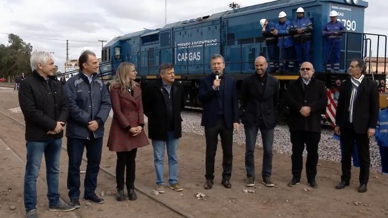 MACRI. En Charata, Chaco, inauguró la extensión de un ramal del Belgrano Cargas (Captura de Youtube)