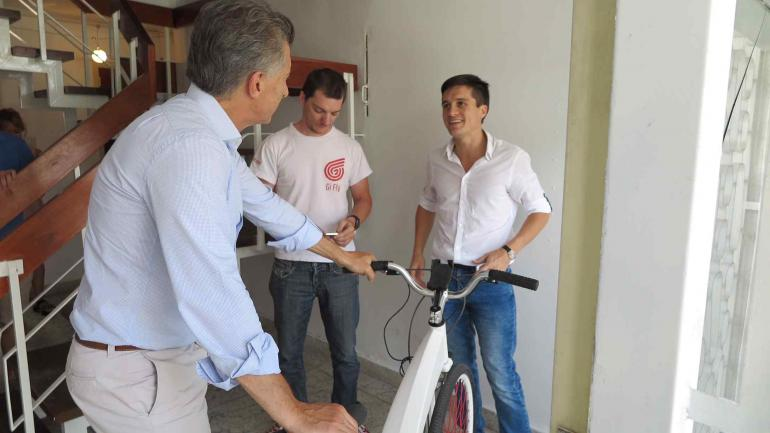 Macri visitó a Lucas Toledo, un joven emprendedor cordobés (Presidencia de la Nación).