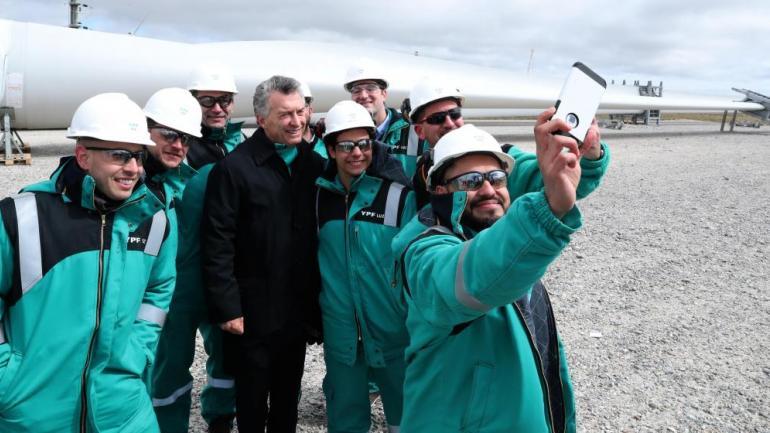 MAURICIO MACRI. Cuando inauguró un parque eólico en Chubut. (Presidencia de la Nación / Archivo)