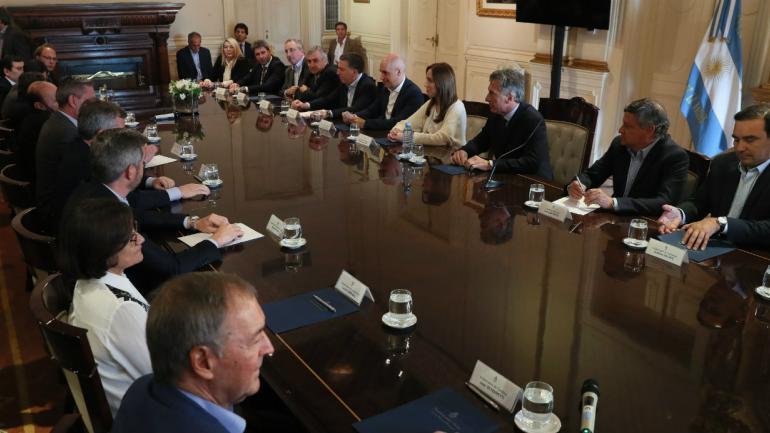 CUMBRE. Macri reunido junto a los gobernadores provinciales. (Presidencia de la Nación)