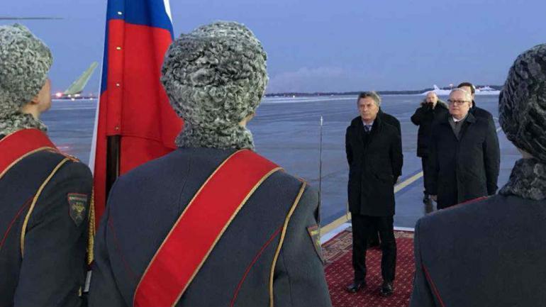 Mauricio Macri llegó a Rusia (Twitter).