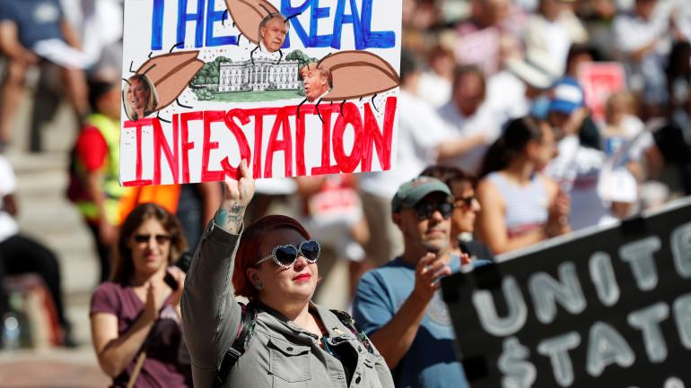 Manifestaciones en contra de la política migratoria de Donald Trump. (AP)