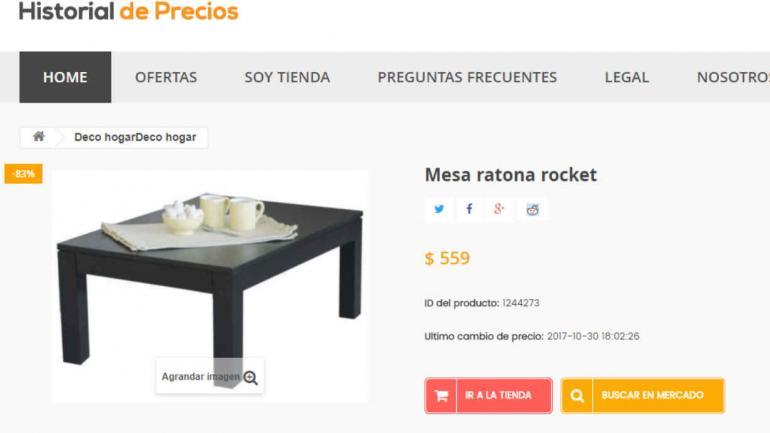 Esta mesa ratona estaba originalmente en $3.490 hace 20 días atrás.