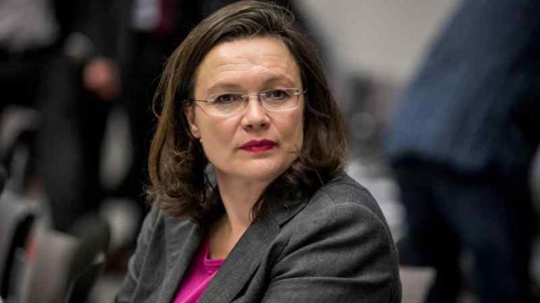 Andrea Nahles. 47 años. Dirige el grupo parlamentario socialdemócrata. Es candidata a asumir la presidencia de su partido (SPD), el próximo 22 de abril.