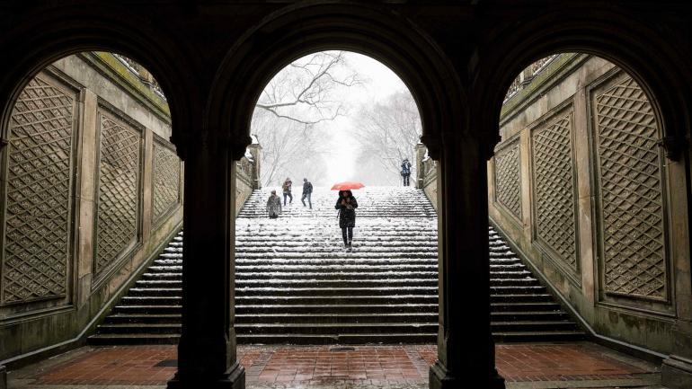 PRIMAVERA BAJO CERO. Estados Unidos comenzó la temporada de las flores y el polen con nieve. (AP)