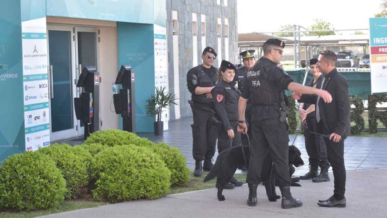 Federales. Con canes, la Policía Federal custodió los accesos.