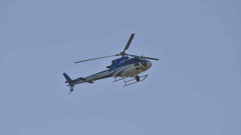 Desde el aire. También fueron dos los helicópteros sobre el hotel.