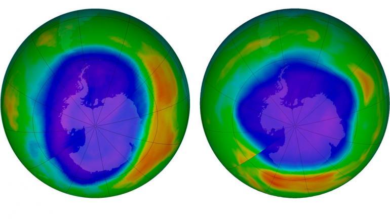 Esta combinación de imágenes provista por la NASA muestra áreas de bajo ozono sobre la Antártida en septiembre de 2000 (izquierda) y en septiembre de 2018 (derecha). Los colores púrpura y azul son donde hay menos ozono, y los amarillos y rojos son donde hay más ozono.