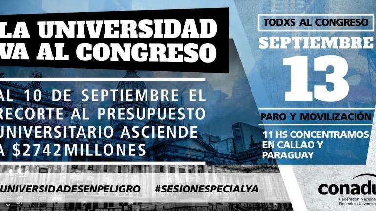 PARO Y MARCHA. La CTERA, la CONADU y el SADOP a un paro nacional docente para este jueves, y a una marcha nacional educativa al Congreso de la Nación. (Conadu)