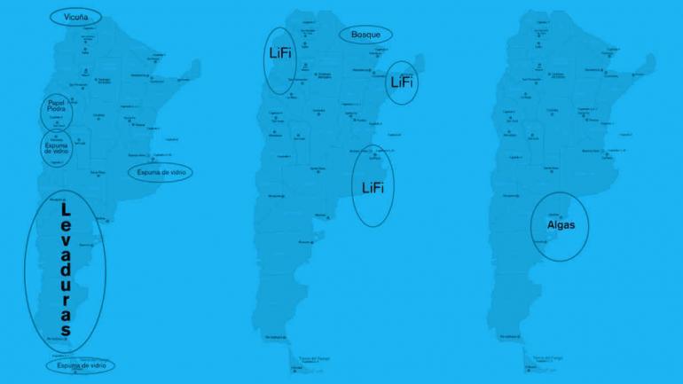 """ESQUEMA. Esquema geográfico de los diferentes proyectos productivos planteados en el """"Plan A"""". (Agencia TSS-Unsam)"""