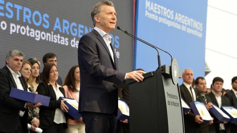 PREMIACIÓN. El presidente Mauricio Macri presenció la ceremonia en 2017. (Archivo DyN)
