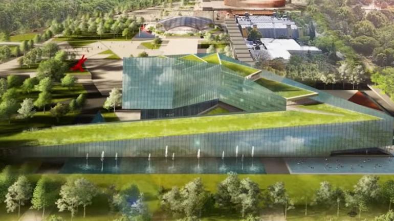 Centro de convenciones. Render del mismo sector de la fotografía de arriba, pero sin las cúpulas. (Gobierno de Córdoba)
