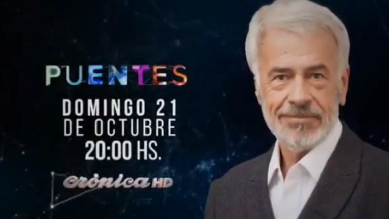 PUENTES. Crónica difundió el programa que grabó De la Sota antes de morir (Captura de video).