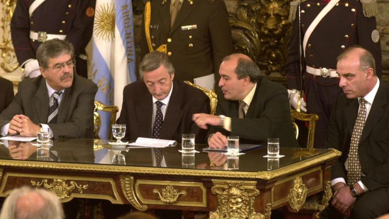 DE VIDO. Kirchner, José López y Uberti (Archivo/Clarín).