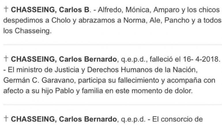 El aviso fúnebre publicado en La Nación.