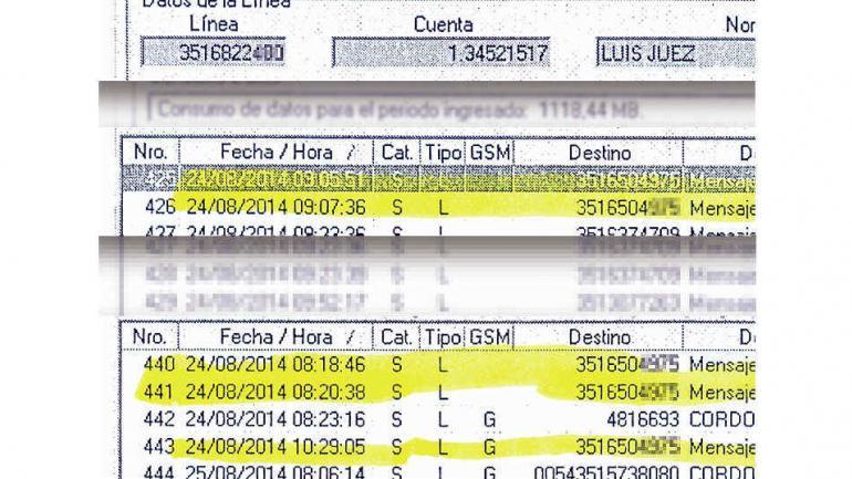 Intercambio. La sábana da cuenta de los SMS de Juez a Nicolás (La Voz)._