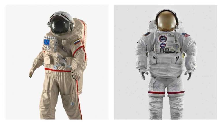 MODELOS. A la izquierda el traje espacial ruso Orlan. A la derecha el modelo EMU de la Nasa.