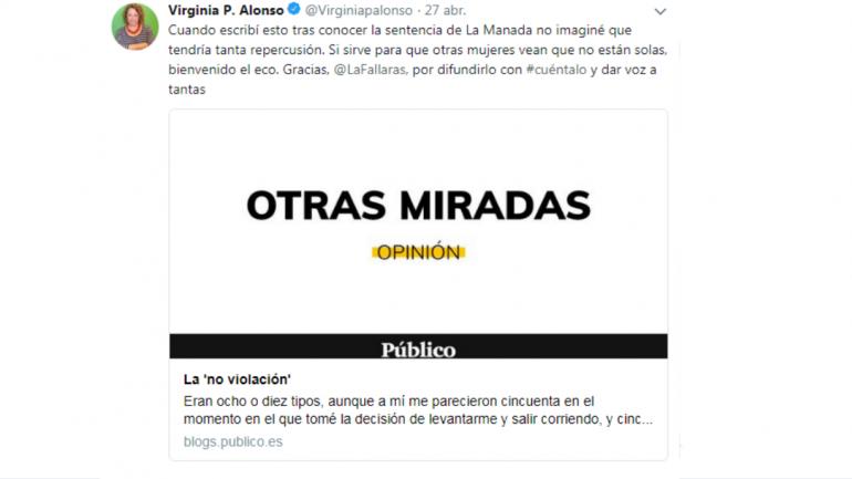 La columna de Virgina Alonso que promovió el #cuéntalo.