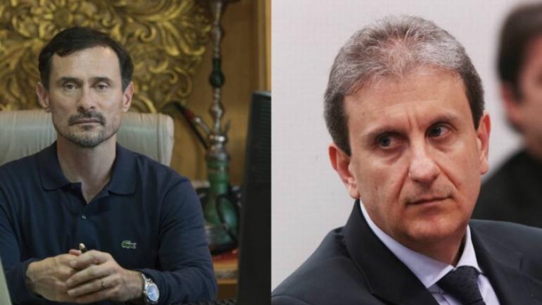 Alberto Youssef en la vida real (derecha) y su versión televisiva en la serie El Mecanismo (izquierda).